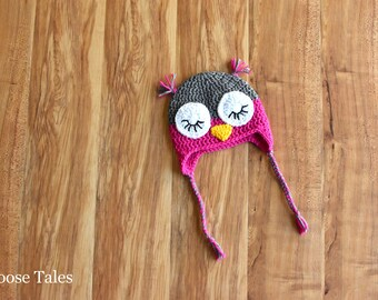 Crochet Baby Owl Hat, Crochet Baby Hat, Pink Baby Hat, Hot Pink Baby, Owl Baby, Owl Hat, Infant Hat, 0-3 Mo Hat, 0-3 Month Hat, 12-18 Mo