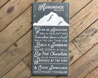 Winter Adirondack Rules Sign - Holiday - Adirondack Decor - Mountain Decor - Cabin Decor - Wood Sign - Family Rules - Cabin Rules