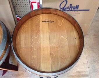 Wine Barrel End Table With Single Shelf