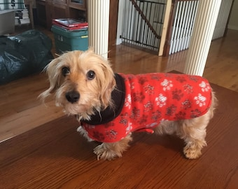 Red paw print dog coat