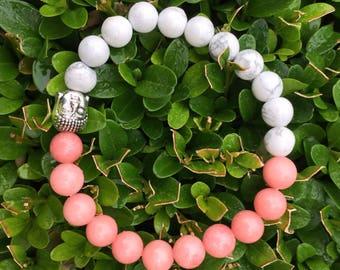 Agate and White Turquoise Budha Beads Bracelet, Budha bracelet, Yoga bracelet, Meditation bracelet, Healing bracelet, Gemstones bracelet