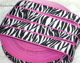 "10 YARDS-7/8"" Hot Pink & Zebra Print Grosgrain Ribbon-10 YARDS"