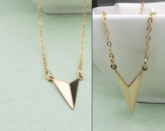 Gold Arrow Chevron Necklace, 14k gold fill, V shaped necklace, layering, minimal jewelry