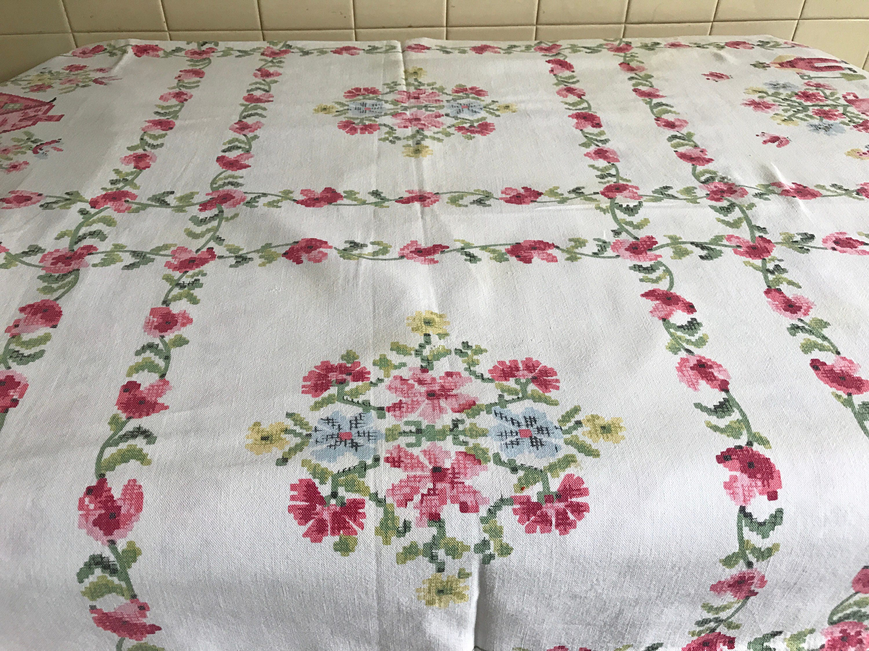Vintage Tablecloth Printed Cross Stitch Design Pennsylvania