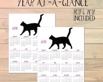 Cat Calendar - 2018 Calendar - 2018 Planner - Calendar Printable - Wall Calendar - 2017 Calendar - Year At A Glance Calendar - 2017-2018