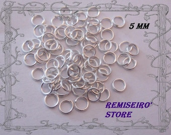 50 Silver ring 5 mm open without nickel