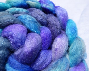 Blue and Purple Devon Bluefaced Leicester and Mulberry Silk Blend - Hand Dyed Wool Roving (Top) - 100g
