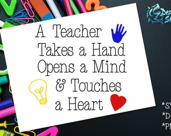 A Teacher Takes A Hand SVG/DXF/PNG