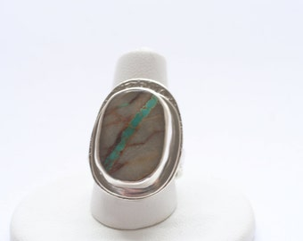 Statement ring, Royston Ribbon Turquoise Ring, OOAK, size 6.5 ready to ship