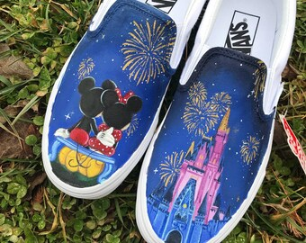 Minnie and Mickey Mouse Disney World inspired Custom Painted Vans