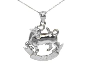 14k White Gold Taurus Necklace