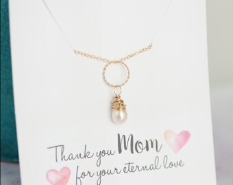 Mother of the Bride Gift, Gold Pearl Necklace, Mom Necklace, Eternity Necklace, Circle Pendant, Teardrop Pearl Freshwater Pearl Ivory Pearl