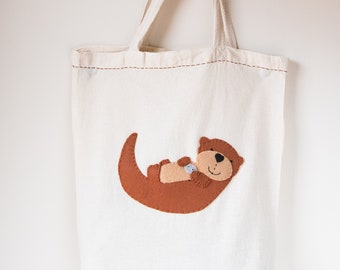 Reusable Grocery Beach Tote with Hand Stitched Otter Made from Recycled Water Bottles