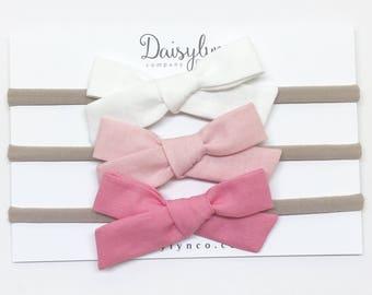 Hand Tied Bow Headband - White, Dusty Pink, 30's Pink - Bow Headband - Schoolgirl
