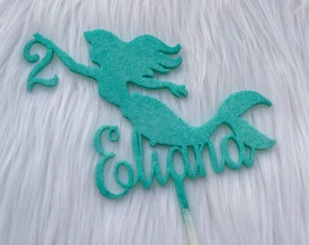 Mermaid Silhouette With Name and Age Cake Topper