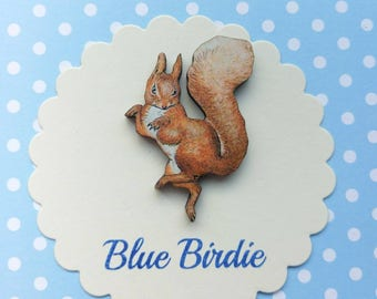 Squirrel Nutkin brooch Beatrix Potter badge wooden squirrel nutkin badge Peter rabbit jewellery vintage book gift