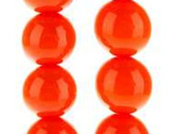 502 - Plastic, 8mm, Round, Orange - Package of 40