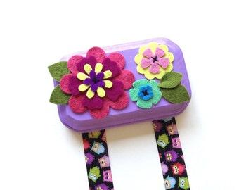 Hair Clip Holder - Pink and Purple Flowers - Hair Clip Organizer