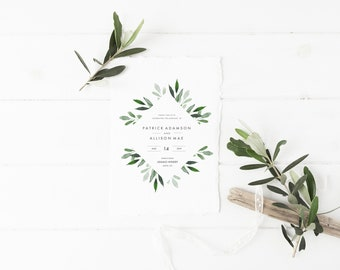 Watercolor Eucalyptus Wedding Invitation Template - DIY Printable Wedding Invitation Template, RSVP, Detail, Save The Date