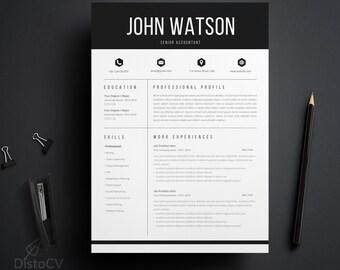 Instant Digital Download, CV Resume Template, Word Resume Template, CV Word Template, Digital Cover Letter, Adjustable CV Template