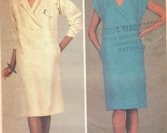 "Mccalls 9006, Sz 12/Bust 34"". Ladies Pullover Straight Shirt Dress with pockets, long or short sleeve options,RARE Vintage 80s pattern"