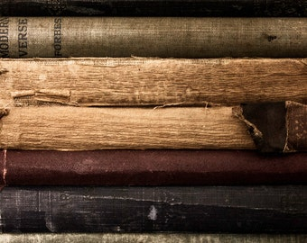 Vintage Books, Book Photography, Library Wall Art, Photography Art Print, Colorful Stacks