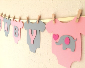 "Baby One-Piece Bodysuit ""BABY GIRL"" Elephant Baby Shower Banner: Pink and Gray Elephant Baby Shower Decoration"