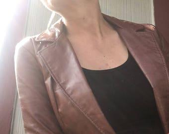 1970s vintage leather jacket, women's cut (XS)