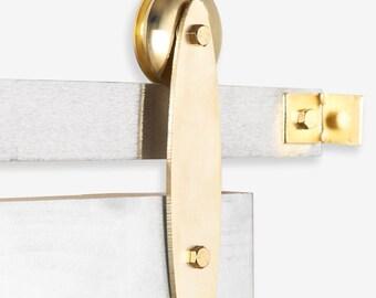 Gold Plated Modern Industrial Sliding Barn Door Hardware Set