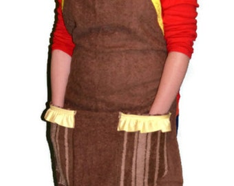 Brown Apron, Homemade Apron, Repurposed Apron, Ready to Ship,Towel Apron