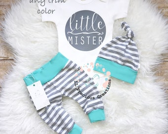 Coming Home Baby Boy Outfit Newborn Boy Clothes Aqua Grey Stripes Baby Boy Leggings Top knot Hat Baby Shower Gift