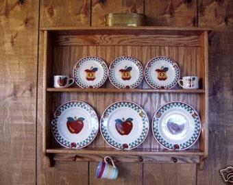 Plate Display Rack Oak Wall Shelf and Mug Holder & Tea Cup and Saucer Plate Rack and Kitchen Display Shelf 9
