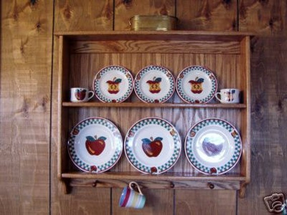 Plate Display Rack Oak Wall Shelf and Mug Holder