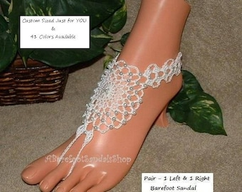 Pearl Barefoot Sandals SUMMER Beach Wedding Foot Jewelry Barefoot SANDALS Beaded Footless Bridal Anklet