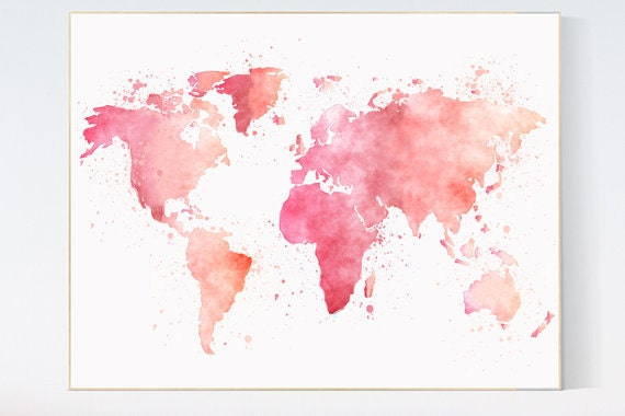 Pink World Map Watercolor Map Baby Girl Nursery Pink