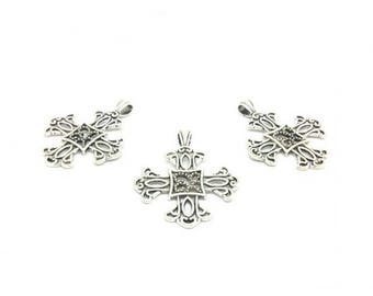 10 charms cross Occitan 42x52mm