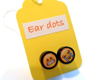 Cute Stud Earrings - Black - Wooden Earrings - Fun Emoji Studs