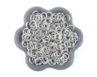 x 100 (01E) 5mm silver plated open jump ring