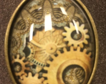Steampunk glass pendant necklace Jewelry Gift Gears