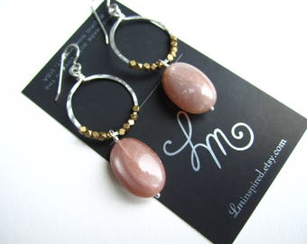 Golden Pink Sunstone Drop with Brass Trade Beads on Hammered Hoop Sterling Silver Earrings by LM-inspired