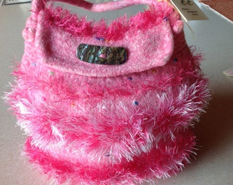 HOT PINK FELTED purse with fizz