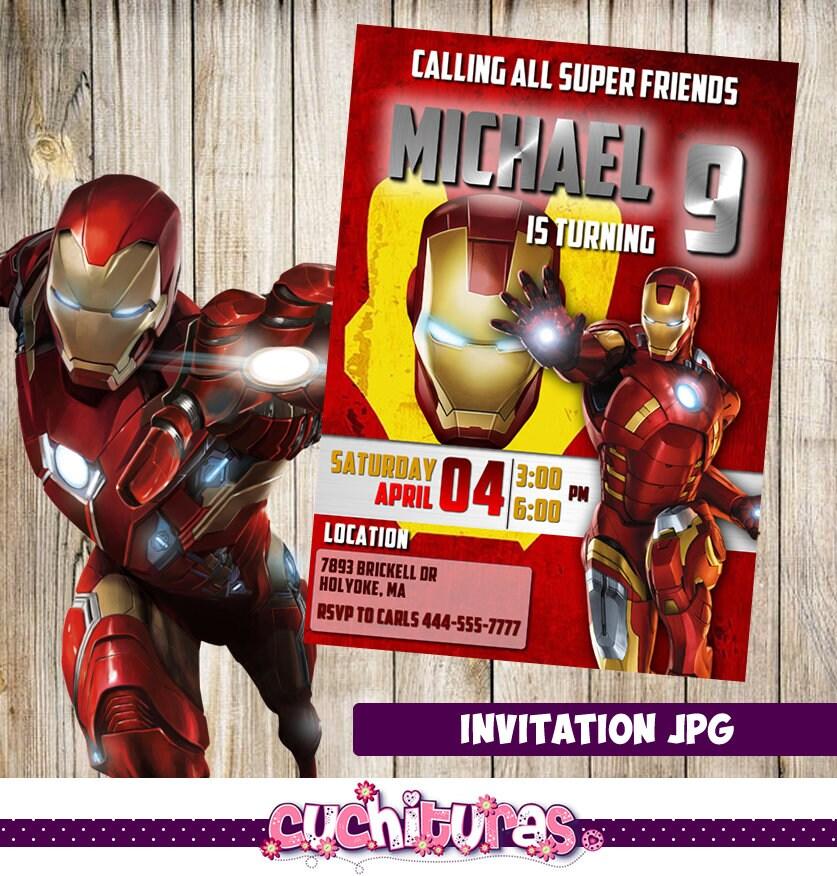 Iron man Invitation Iron man Party Iron man Birthday