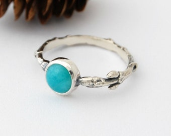 Amazonite and bud ring - sterling silver branch ring with 6mm amazonite cabochon size 6.5