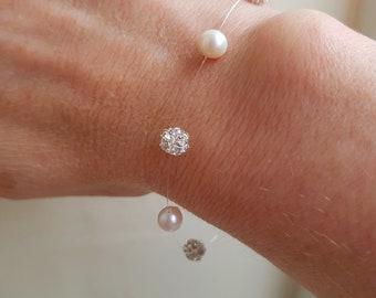 Freshwater pearl bridal bracelet, real pearl and diamante ball illusion bracelet, Sterling Silver dainty floating pearl bridesmaid jewelry