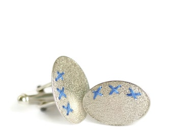 Sewn Up Cufflinks - sewn with embroidery thread
