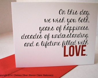 Wedding Day Card - Decades of Happiness & Love