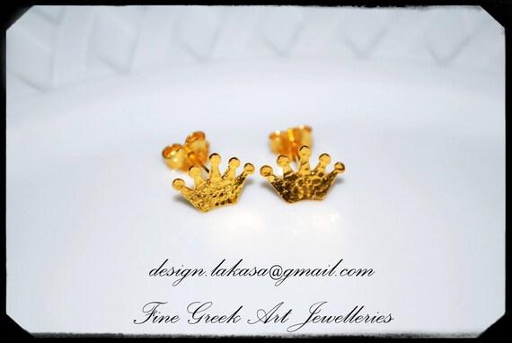 Crown Stud Earrings Sterling Silver Gold plated Jewelry Lakasa eShop best gifts ideas Princess woman girl princesa fairy tale prince castle