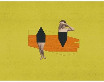 Broken woman - art print - mixed media digital collage
