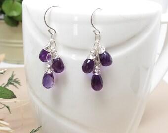 Amethyst Earrings, Purple Gemstone Earrings, February Birthstone, Set Of Three Amethyst Briolettes Earrings, Birthstone Earring In Sterling