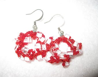 Red and clear with white seed beads